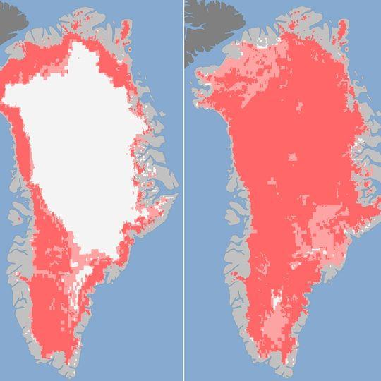 Le rose représente la détection de glace dégélé par les satellites de la Nasa