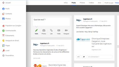 Nouvelle Interface Google+