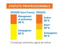 Statuts professionnels parmi les effectifs de Bouygues