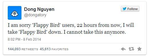 Dong Nguyen annonce la fin de Flappy Bird