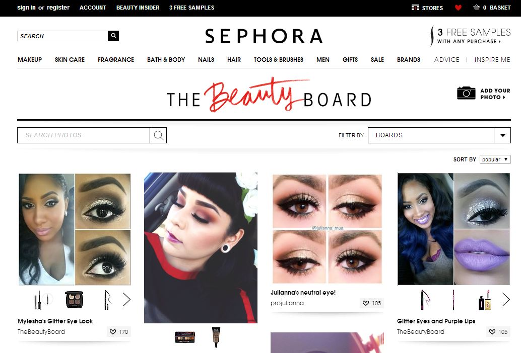 Page d'accueil The Beauty Board de Sephora, réseau social beauté