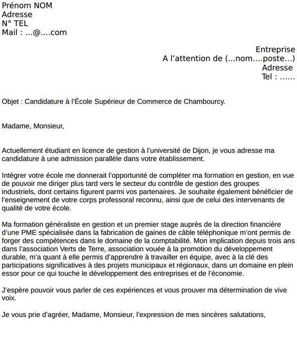 modele lettre de motivation ecole commerce