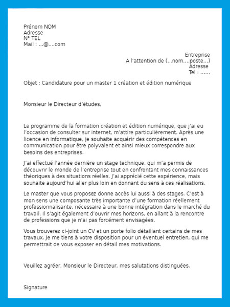 lettre de motivation bts   exemple de lettre de motivation
