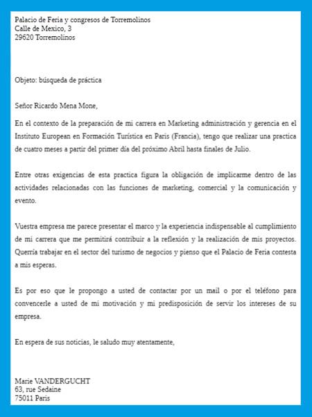 lettre de motivation espagnol exemple
