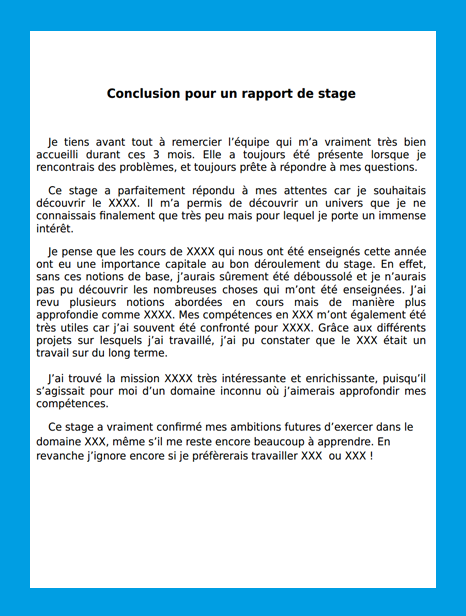 conclusion rapport de stage exemple