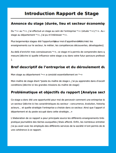 Introduction rapport de stage exemple introduction for Stage de cuisine gratuit