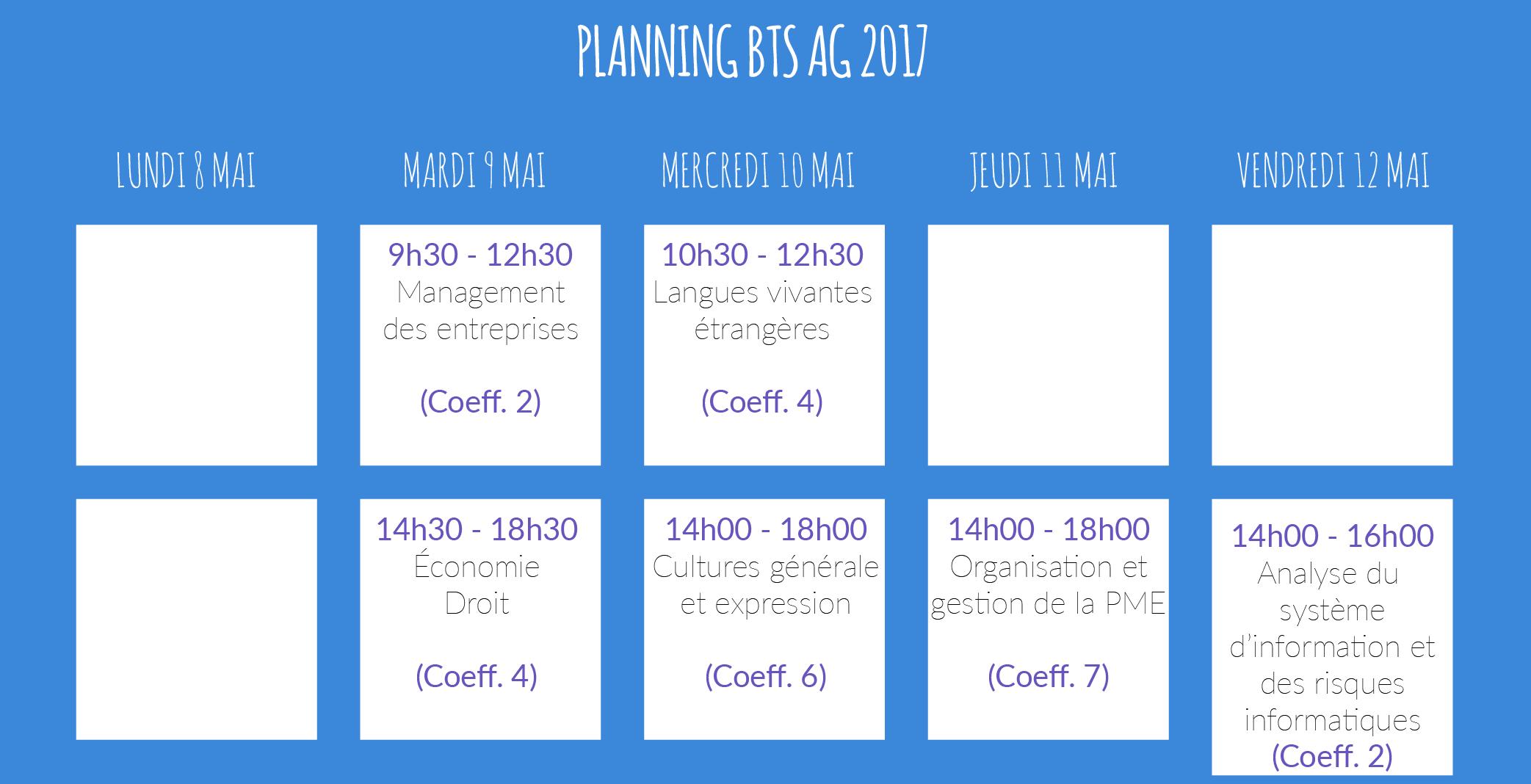 horaires examens BTS AG