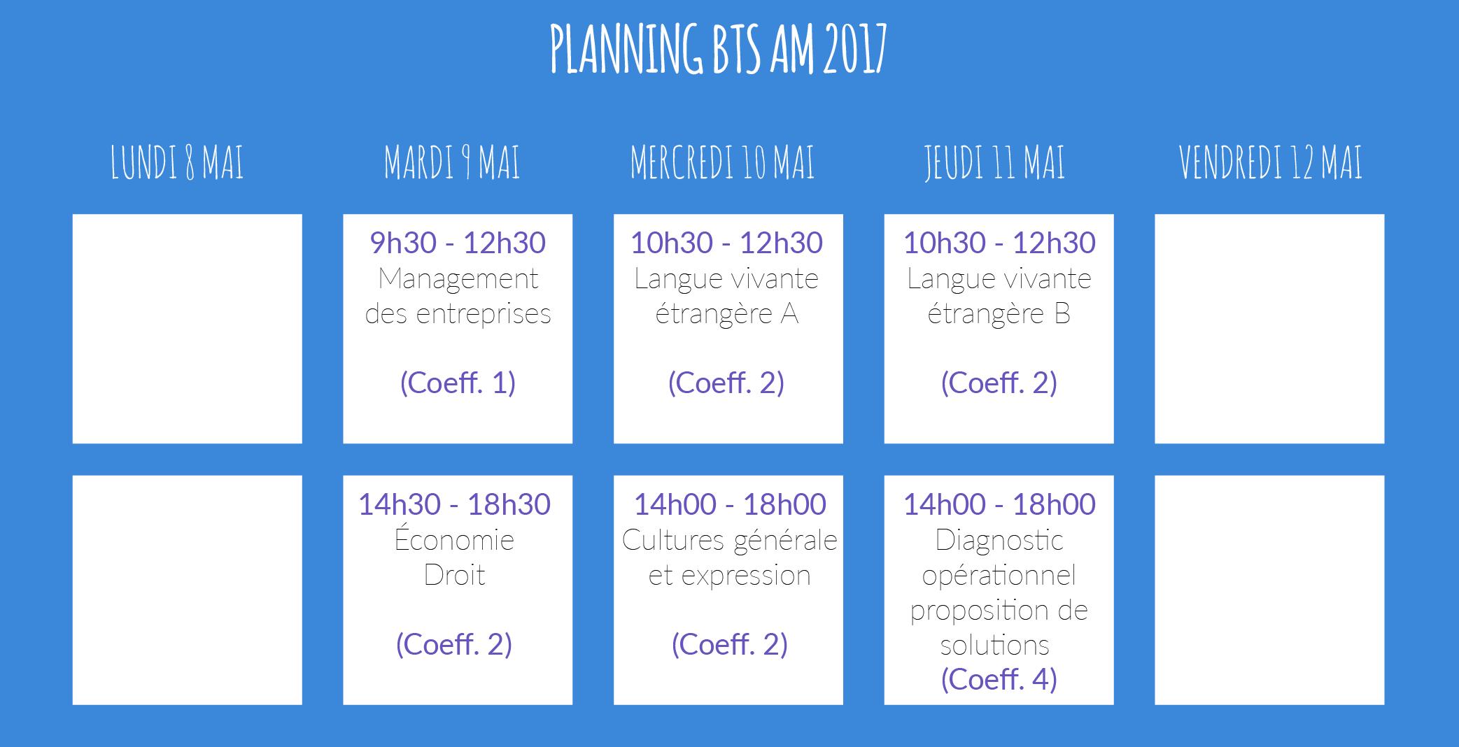 horaires examens BTS AM