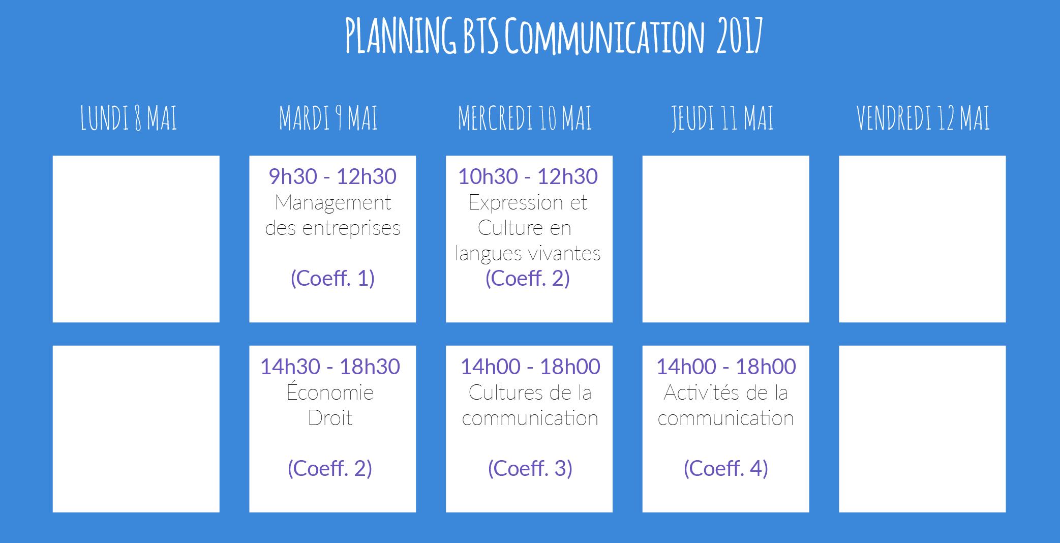 horaires examens BTS Communication
