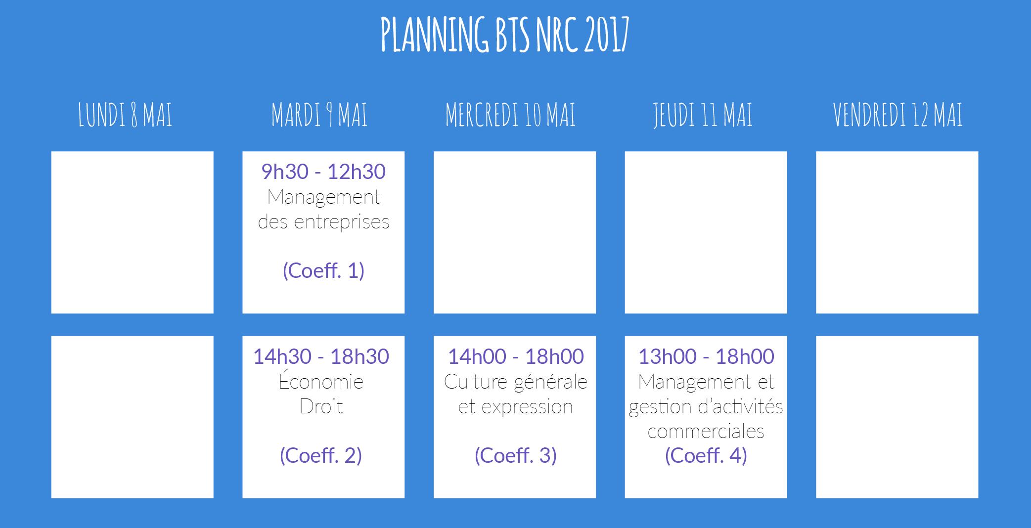 horaires examens BTS NRC